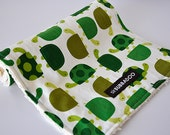Baby Burp Cloth, Turtles in Grass and Natural Chenille
