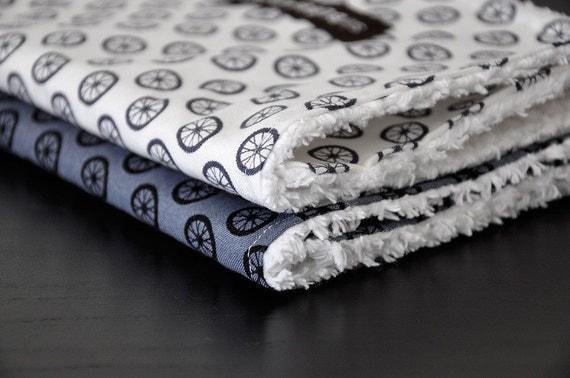 Baby Burp Cloths, Set of 2, Michael Miller's Wheel Dot and White Chenille