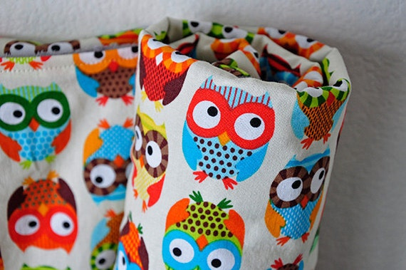 Owl Baby Blanket, Bright Owls in Cream by Alice Kennedy and Brown Bubble Dot Minky