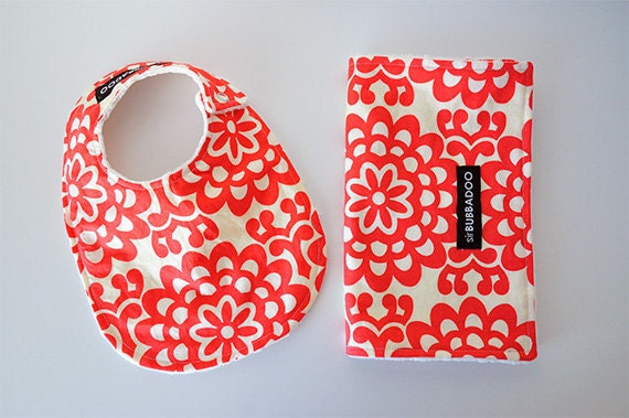 Baby Bib and Burp Cloth Set, Wallflower in Cherry and Cream Bubble Dot Minky