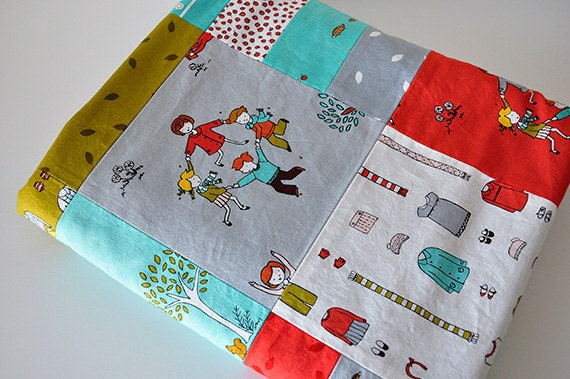 Baby Blanket, Modern Patchwork Baby Quilt, Little Apples by Aneela Hoey and Charcoal Gray Bubble Dot Minky