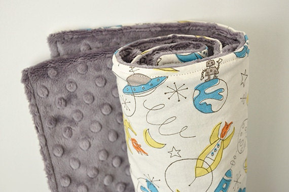 RESERVED for Angie, Baby Blanket, Organic, Spaceships and Charcoal Gray Bubble Dot Minky