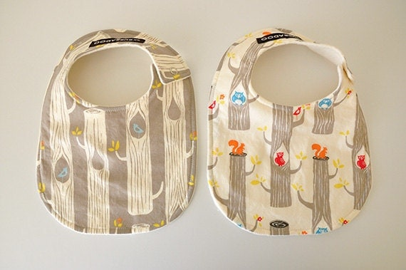Baby Bibs, Set of 2, Organic, Circa 52 Woodland Friends and Cotton Sherpa