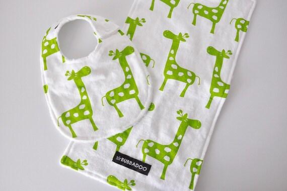 Baby Bib and Burp Cloth Set, Giraffes and White Bubble Dot Minky