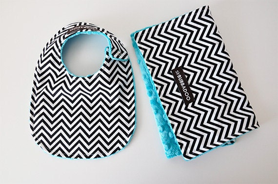 Baby Bib and Burp Cloth Set, Chevron in Black and White and Your Choice of Bubble Dot Minky