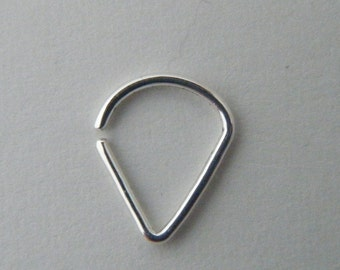 Teardrop (.999 silver) : Nose Ring .. Septum Jewelry .. Silver Nose Hoop .. Aprilsblissed .. Nosebling .. Unique Silver Nose Ring