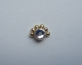 Pollen (Gold) : Nose Ring .. Nose Stud .. Nose Jewelry .. Swarovski Crystal .. 14K Gold .. Aprilsblissed .. Nosebling