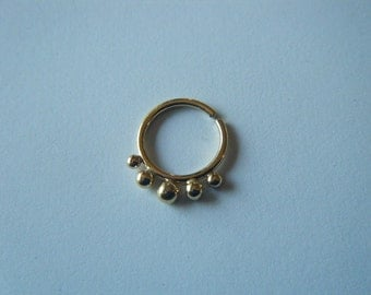 Space : Gold Nose Ring .. Septum Jewelry .. 14k gold nose hoop .. Aprilsblissed .. Nosebling .. Tribal Nose Adornment