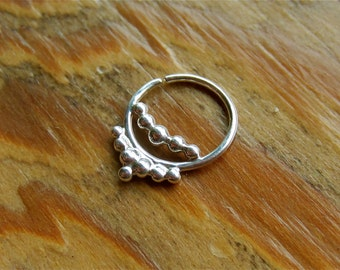 Nexus (.999 silver) : Silver Nose Ring .. Septum Jewelry .. Silver Nose Hoop .. Aprilsblissed .. Nosebling .. Tribal Nose Adornment