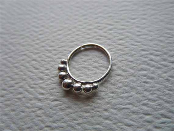 Kin : Silver Nose Ring .. Septum Ring .. Nose Jewelry .. Silver Septum Ring .. Nose Hoop .. Tribal Nose Adornment .. Aprilsblissed ..