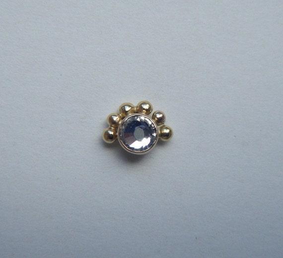 Pollen (Gold) : Nose Ring .. Nose Stud .. Nose Jewelry .. Swarovski Crystal .. 14K Gold .. Aprilsblissed .. Nosebling