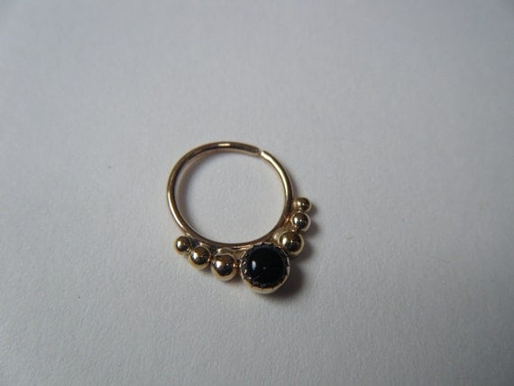Alpha (Gold/Serrated Bezel) : Gold Nose Ring .. Septum Jewelry .. Onyx Nose Hoop .. Aprilsblessed .. Nosebling .. Tribal Nose Adornment