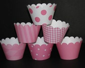 Pink  Cupcake Wrappers  from my basic collection holder wrap Polka dots stripes
