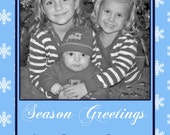 DIY  Holiday Christmas  PRINTABLE Photo Card Blue white Snowflakes Holiday Greeting 5x7 4x6