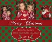 DIY  Holiday Christmas  PRINTABLE Photo Card green red white polka dot Holiday Greeting 5x7 4x6