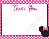 DIY Minnie Mouse Birthday Party  PRINTABLE Thank You Card 4x6 Pink Black white - Cupcake Express
