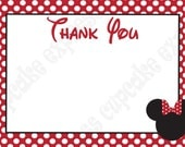 DIY Minnie Mouse Birthday Party  PRINTABLE Thank You Card 4x6 Red Black white - Cupcake Express