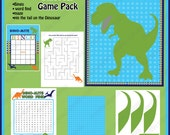 INSTANT DOWNLOAD diy  Dinosaur  Birthday Party  Printable GAME Pack  Bingo Maze Word Find Pin the tail on the dinosaur blue green orange