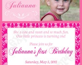 DIY Preppy Couture Birthday Party  PRINTABLE Invitation 5x7  hot pink mede pink lt. pink crowns princess -cupcake express