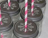 Daisy Stamped Pewter Mason Jar LIDS  vintage  36  -Cupcake Express