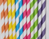 50 Candy Shoppe Candyland Striped  Paper Straws birthday party , wedding, bridal shower, event, cake pop sticks bonus diy straw flags
