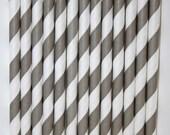 50  Grey Striped Paper Straws birthday party bridal shower, cake pop sticks bonus diy straw flags