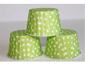 Lime Green Polka Dot Baking Cups, Candy Cups, Nut Cups Cupcake Liners  12