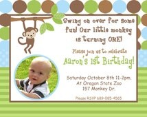 DIY Safari Birthday Collection PRINTABLE Party Invitation Photo 5x7 monkey lion