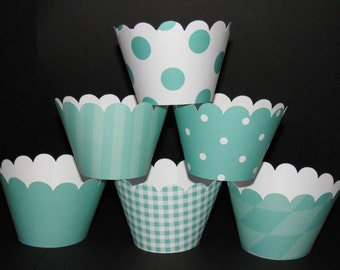 Teal Cupcake Wrappers Basic collection holder wrap polka dots stripes