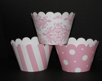 12 Pink & White  Damask, Polka dot, Striped Cupcake Wrappers Holders, Wraps