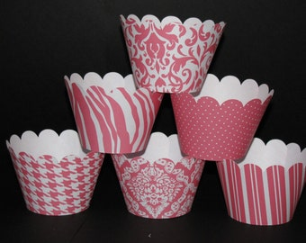 Pink Coral Cupcake Wrappers Classic Collection cupcake holder wrap