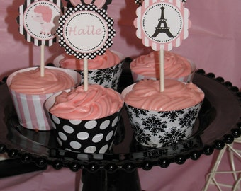 DIY Paris Birthday Collection Printable party circles 2in Cupcake Toppers or we can PRINT them...
