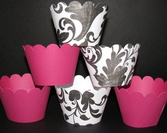 Cupcake Wrappers Black White damask floral hot pink  Cupcake Wrappers holder wrap