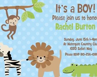 DIY Safari Baby Shower PRINTABLE Party Invitation 5x7 monkey lion baby boy  its a boy