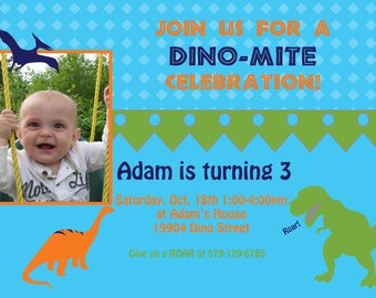 DIY Dinosaur Photo  Birthday Party  PRINTABLE Invitation 5x7 4x6 blue green  orange