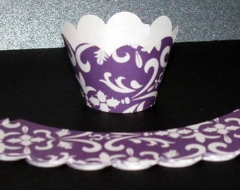 Mini Purple Damask Cupcake Wrappers wraps holder 12