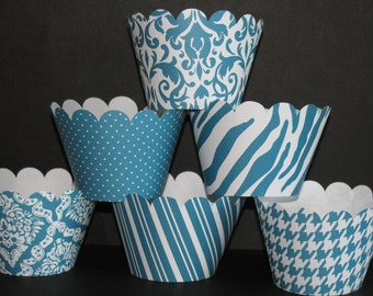 Teal  white Standard Cupcake Wrappers Classic Collection  wedding bridal shower