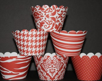 Rust  white Standard Cupcake Wrappers Classic Collection wedding damask zebra striped polka dots....