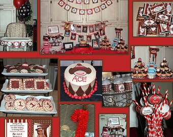 Sock Monkey Deluxe  Birthday Party DIY PRINTABLE Part Package Red brown Personalized - Cupcake Express