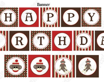 INSTANT DOWNLOAD diy  Sock Monkey Birthday Party  PRINTABLE Banner Sign red brown door sign happy birthday - Cupcake Express