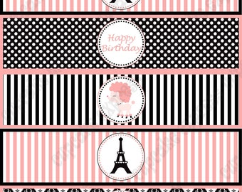Paris Water Bottle Labels girls Printable Birthday Party drink wraps pink black stripes polka dots damask INSTANT DOWNLOAD diy