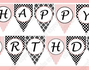 INSTANT DOWNLOAD diy Paris Birthday Party Collection PRINTABLE Happy Birthday Banner pink black