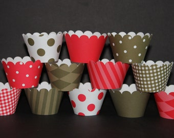 Sock Monkey Cupcake Wrappers Brown Red  holder wrap matches Sock Monkey  Birthday  - Cupcake Express