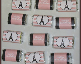Paris Mini Candy Bar Wrappers Birthday Party PRINTABLE party  bridal shower wedding baby shower eiffel tower poodle INSTANT DOWNLOAD diy