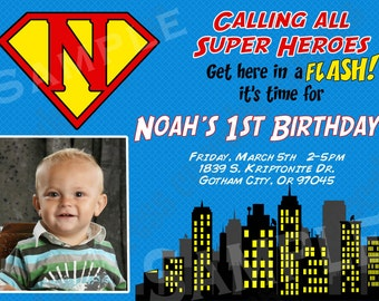 DIY Super Hero Birthday Party  PRINTABLE Invitation 5x7 4x6 blue yellow red black Photo