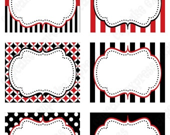 Pirate  Birthday Party  PRINTABLE Food Labels favor tags Red black white  polka dots stripes INSTANT DOWNLOAD diy