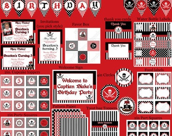 DIY  Deluxe PIRATE Birthday Party  PRINTABLE Part Package red black white  Banner invitation