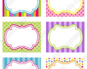 Candy Shoppe Birthday Party  PRINTABLE Food Labels pink green blue yellow orange  candyland INSTANT DOWNLOAD diy