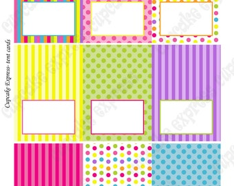 INSTANT DOWNLOAD diy Candy Shoppe Birthday Party  PRINTABLE Tent Cards pink green blue yellow orange  candyland -Cupcake Express