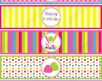 Candy Shoppe Birthday Party  PRINTABLE Water Bottle Labels pink green blue yellow orange  candyland INSTANT DOWNLOAD diy